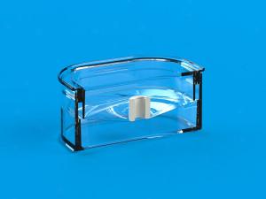 Tværsnit af lille udstillingskasser med membran og indhold