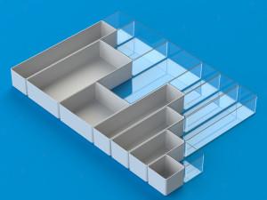 Skuffeopdeler modul 75 | modulært æskesystem til opdeling af skuffer