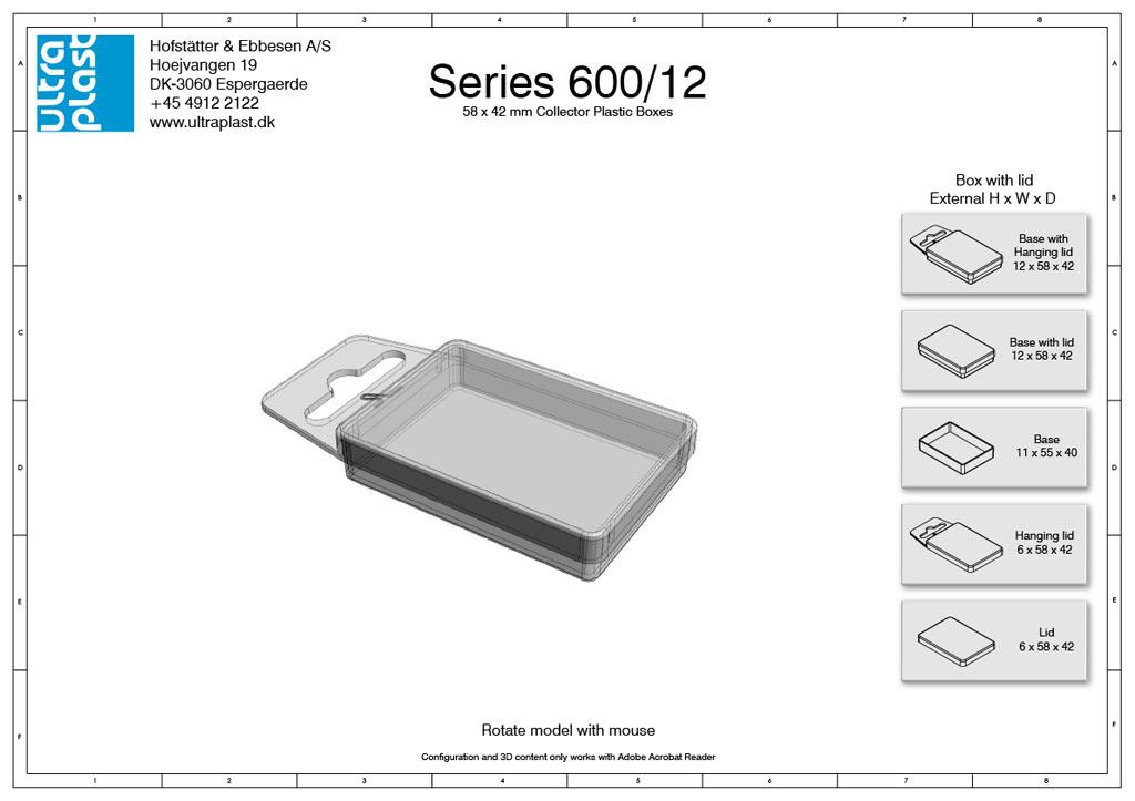 Små æsker med låg i plast - 40 x 55 mm. 12 mm tykkelse
