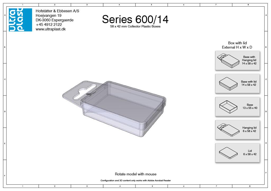 Små æsker med låg i plast - 40 x 55 mm. 14 mm tykkelse