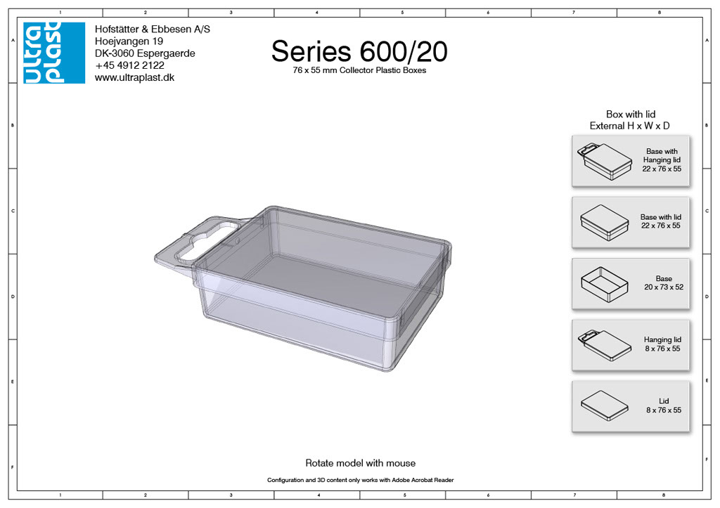 Små æsker med låg i plast - 40 x 55 mm. 20 mm tykkelse